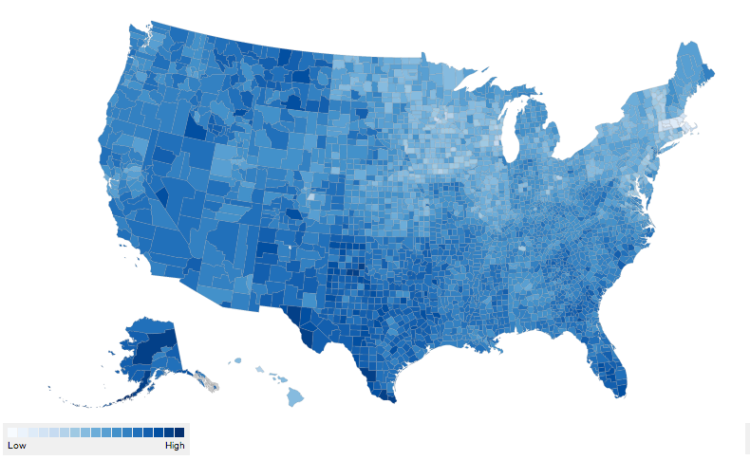 Percent uninsured in the U.S. by county