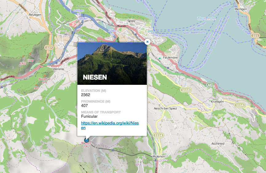 Switzerland Elevation Map.A Map Of All The Mountains In Switzerland Accessible By Public